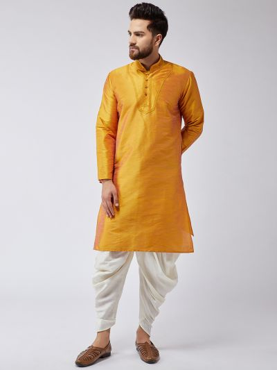 Sojanya (Since 1958), Men's Mustard Silk Kurta and Off-White Harem Pant set