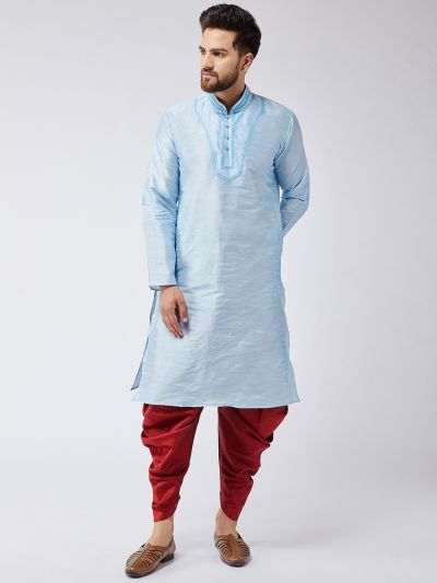 Sojanya (Since 1958), Men's Aqua Blue Silk Kurta and Maroon Harem Pant set-15
