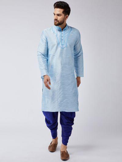 Sojanya (Since 1958), Men's Aqua Blue Silk Kurta and Blue Harem Pant set
