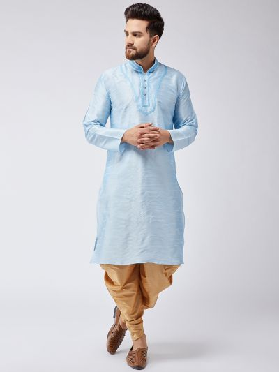 Sojanya (Since 1958), Men's Aqua Blue Silk Kurta and Gold Harem Pant set