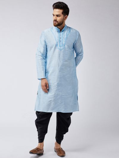 Sojanya (Since 1958), Men's Aqua Blue Silk Kurta and Black Harem Pant set