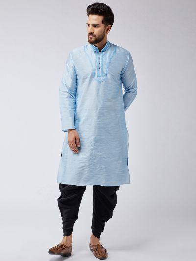 Sojanya (Since 1958), Men's Aqua Blue Silk Kurta and Black Harem Pant set