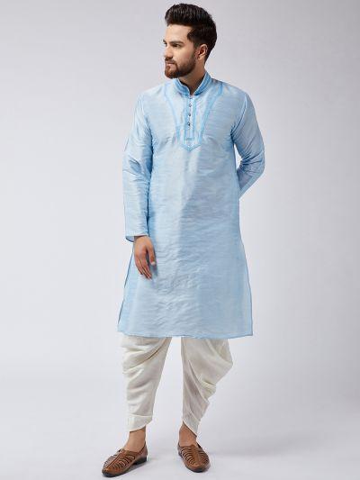 Sojanya (Since 1958), Men's Aqua Blue Silk Kurta and Off-White Harem Pant set